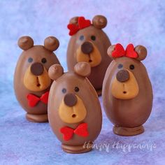 You may think these Buckeye Bears are too cute to eat, but you wont be able to resist their peanut butter fudge filled chocolate bellies, caramel snouts...