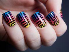 #Tribal #Blue #Yellow #Black #Peach #Pink #Nails #SquareSharp #Purple