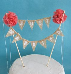 Rustic wedding Cake topper wedding Burlap cake by Hartranftdesign, $34.00