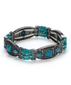 Take a look at this Turquoise Hematite Tri-Stone Stretch Bracelet by Bijou International on #zulily today!