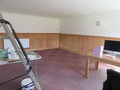 The games room before the make over - still with the carpet tiles down!