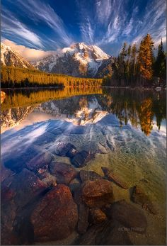 I've never been here durring the summer...    Leigh Lake Reflections, Grand Teton National Park. Photo By Chip Phillips