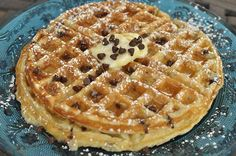 Buttermilk, Chocolate Chip Waffles - quick & easy recipe - comes out thick & fluffy - hit with the kids.