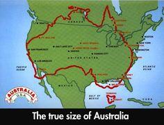 Size of Australia vs continental USA, map