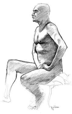 "Jeffrey Wiener  ""Older man: Seated"" (Pencil on paper, 20"" x 16"")"