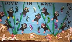 Dive in and Explore Bulletin Board Preschool Ocean theme crafts: Watercolor black glue divers. Seahorse and colored sand starfish. Preschool Bulletin Boards, Preschool Themes, Classroom Crafts, Classroom Themes, Preschool Activities, Ocean Themed Classroom, Ocean Theme Crafts, Ocean Themes, Summer Bulletin Boards
