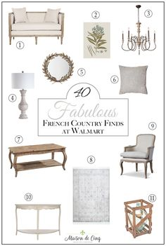 Fabulous French Country Finds at Walmart- Do you love finding French country vintage style decor that doesn't break the bank? Take a look at these fabulous French country finds at Walmart! 40 Fabulous French country decor items at Walmart! French Country Interiors, French Country Furniture, French Country Bedrooms, French Country Farmhouse, French Home Decor, French Country Style, French Country Decorating, French Country Coffee Table, Vintage French Decor