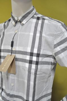 Burberry Brit Cotton Linen Grey Black Check Casual Dress Shirt Size M  NWT #BurberryBrit #ButtonFront