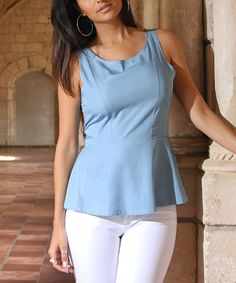 Take a look at this OC Collection Light Chambray Peplum Scoop Neck Tank today!