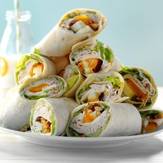 Cranberry Turkey Wraps Cranberry Turkey Wraps Recipe -Fruity and flavorful, these hefty grab-and-go handfuls are quick to Turkey Wrap Recipes, Turkey Wraps, Chicken Recipes, Krups Prep Cook, Prep & Cook, Sandwich Recipes, Snack Recipes, Cooking Recipes, Sandwich Ideas