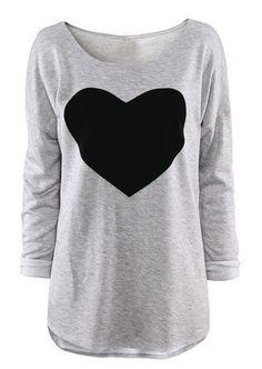 Feitong 2017 Mode Femmes T-shirt Amour Coeur Imprimé Manches Longues American Apparel O Cou T-shirt Femme # Grey Long Sleeve Shirt, Long Sleeve Tops, Gray Shirt, Grey Sweatshirt, Gray Sweater, Hoodie Sweatshirts, Loose Shirts, Tee Shirts, Cotton Shirts
