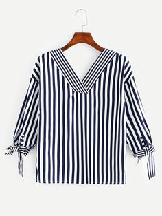 Knot Side Striped Blouse -SheIn(Sheinside) - Outfits for Work Bluse Outfit, Crochet T Shirts, Tunic Designs, Blouse Models, Casual Outfits, Fashion Outfits, Tunic Pattern, Blouse Styles, Blouses For Women