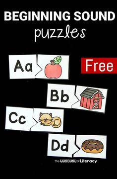 These beginning sound puzzles are a fun activity to add to your literacy centers, homeschool, or small groups when learning the alphabet!
