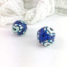 x1 Chunky Blue Sparkly Beads 20mm Spotty Blue Bead Evil Eye
