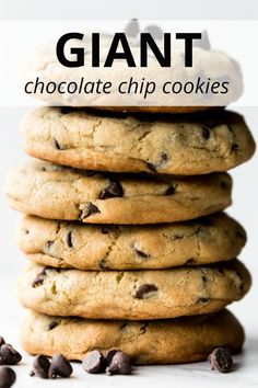 These GIANT chocolate chip cookies are soft and chewy with crispy edges and tons of chocolate! Recipe yields 6 big chocolate chip cookies. sallysbakingaddiction.com Mini Desserts, Easy No Bake Desserts, Cheesecake Desserts, Strawberry Desserts, Dessert Recipes, Birthday Desserts, Plated Desserts, Big Chocolate, Chocolate Recipes