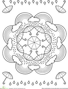 Lots of great mandalas including this rainy weather one Doodle Coloring, Adult Coloring Pages, Mandala Coloring Pages, Printable Coloring Pages, Coloring Pages For Kids, Coloring Sheets, Coloring Books, Coloring Worksheets, Spring Coloring Pages