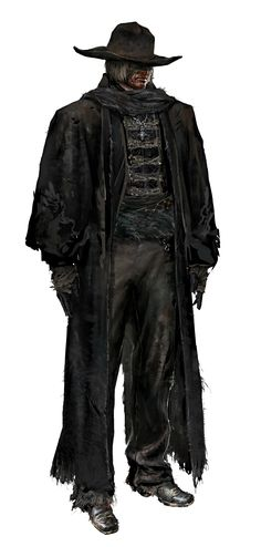 This is a digital concept art render of Priest Gascoigne from Bloodborne…
