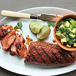 Spanish Pork with Apple-Citrus Salsa Recipe | MyRecipes.com