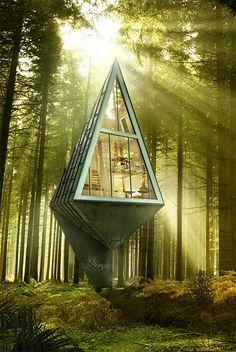 設計師Konrad Wójcik-森林小屋(Single Pole House):每一個標準的森林小屋,內部空間都有4層,且每一層的功能都嚴格分區,足可以滿足2個成年人日常生活的需要
