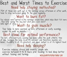 Best and worst times to excercise