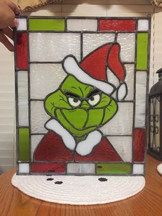 Grinch Stained Glass panel made by Jersey Boy Stained Glass for a customer to give as a Christmas gift! She Loved it