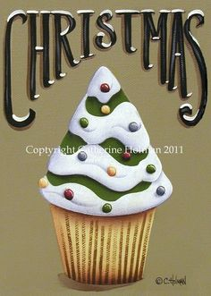 Cupcake Print Christmas Tree by catherineholman on Etsy, $16.95