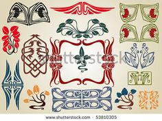 Google Image Result for http://image.shutterstock.com/display_pic_with_logo/318148/318148,1274762734,2/stock-vector-art-nouveau-plant-collection-53810305.jpg