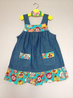 Lovely Denim Dress size 3yrs by BlessedBe14 on Etsy