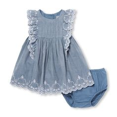 Baby Girls Short Flutter Sleeve Chambray Dress And Bloomers Set - March 09 2019 atAdd a little sweetness to your baby's wardrobe with this cute chambray dress set.Shop the most adorable looks for newborn baby girl clothes only at The Children's Place Baby Dress Design, Baby Girl Dress Patterns, Frock Design, Little Girl Dresses, Girls Dresses, Baby Outfits, Kids Outfits, Baby Girl Fashion, Kids Fashion