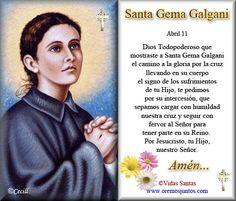 Vidas Santas: Estampita Oración de Santa Gemma Galgani