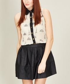Take a look at this Cream Around The World Sleeveless Button-Up Top by Sugarhill Boutique on #zulily today!