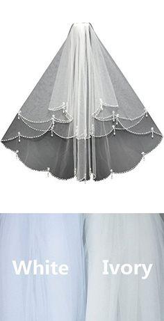 ElieHouse Women's 2 Tiers Crystal Edge Shoulder Length Wedding Bridal Veil Ivory E38IV