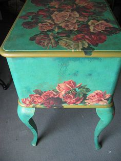 Decoupage furniture by swamp dragon, May do these colors on my coffee tables, turquoise paint with pink, gold and red Decoupage Furniture, Hand Painted Furniture, Funky Furniture, Repurposed Furniture, Furniture Projects, Furniture Making, Furniture Makeover, Diy Projects, Decoupage Coffee Table
