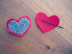 Embroidered Heart Bobby Pins Tutorial