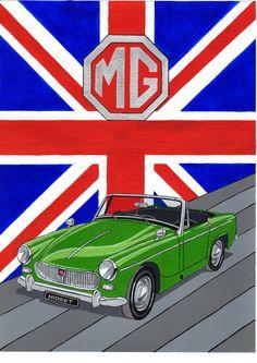 MG Midget in acrylic