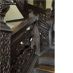 Jacobean 17th century carved staircase at Aston Hall, Birmingham, West Midlands, England.
