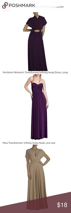 Von Vonni Maxi Infiniti Dress, Merlot The stock photos are to show the style. All are the same Von Vonni Maxi Infiniti dress. The last photo is to show the color and that the tags are still on. The color is a very dark, more red than purple merlot. Merlot was the actual color that I bought but the stock photo of the merlot dress shows it a bit more purple than the actual dress. Never worn, ordered an extra for my wedding and forgot to return it in time. Von Vonni Dresses Maxi