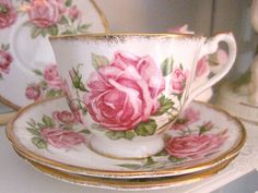 American Beauty Pink Rose cup and saucer