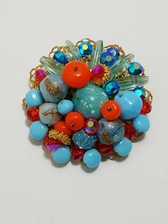 Beautiful Colorful Brooch Crystals Glass Gold Tone by Beadgarden55