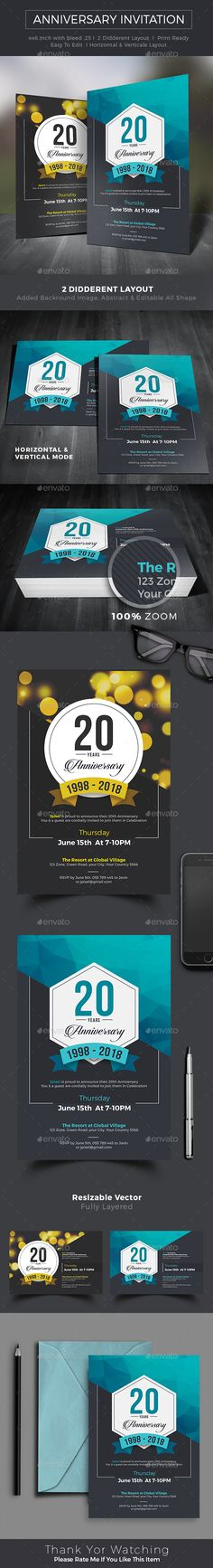 Anniversary Invitation by Anniversary Invitation Template. Can be used for multipurpose way like corporate anniversary, company anniversary, corporate party Company Anniversary, Work Anniversary, Anniversary Parties, Anniversary Greeting Cards, Wedding Anniversary Invitations, Party Invitations, Invitation Ideas, Invitation Cards, Birthday Card Design
