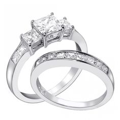 his hers 3 pcs black titanium matching band three stone princess regarding sterling silver wedding rings his and hers
