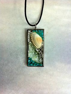 Glass & Sea Shell Pendant by Albedomosaics  would like more with tiny maine sanddollar