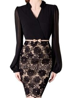 Ladylike Band Collar Lace Patchwork Bodycon Dress