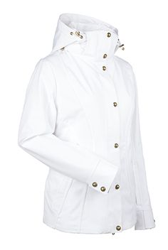Women's ski and snowboard jacket. Look timelessly elegant against the mountain this winter in this hip length jacket. With stretch fabric, contoured lines, tonal piping and beautiful brass metal clasps, the Natalie is figure flattering and beautifully designed. This jacket is sure to make you feel like a million bucks! WATERPROOF- 10,000mm. BREATHABLE- 10,000g.