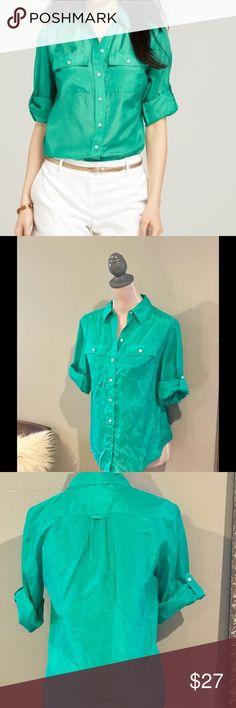 Button down blouse Silk Cotton Button Down Camp Shirt Ann Taylor Tops Button Down Shirts
