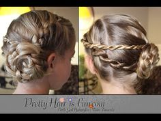 Learn how to do this pretty hairstyle with a ladder braid (a braid that incorporates hair from one side), twist braids, and a pinwheel braid updo (a bun that...