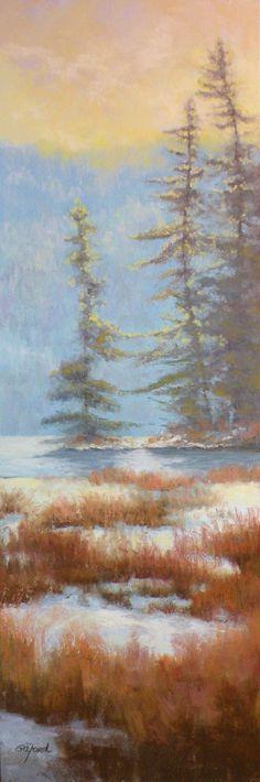 "©2011 Paula Ann Ford, Winter Love-Holding Hands, Soft Pastels on Ampersand Pastelbord, 18""x 6"". #Adirondack"