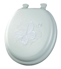 Mayfair 000 Butterfly Embroidered Soft Toilet Seat with Lift-Off Hinges, Round, White Lift Off Hinges, Butterfly Bathroom, Toilet Storage, Sub Brands, Butterfly Design, White Vinyl, Memorable Gifts, Sheboygan Falls, Core