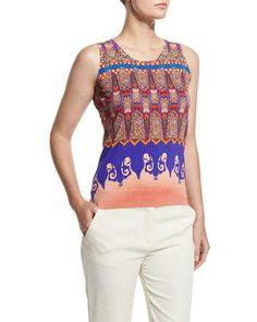 Marrakech-Print Stampa Knit Tank, Orange/Purple