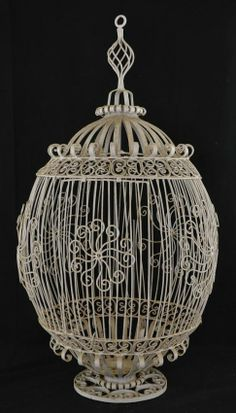 Wrought Iron Hanging Globe Birdcage, early 20th century